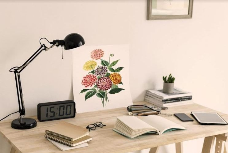 office desk with floral painting